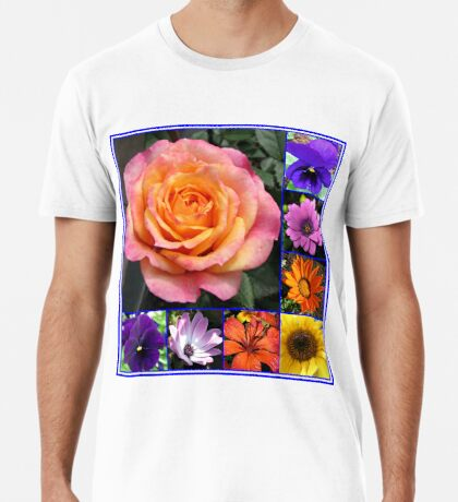 Blumen der Sommer-Collage, die leuchtende Rosen-Schönheit kennzeichnet Premium T-Shirt