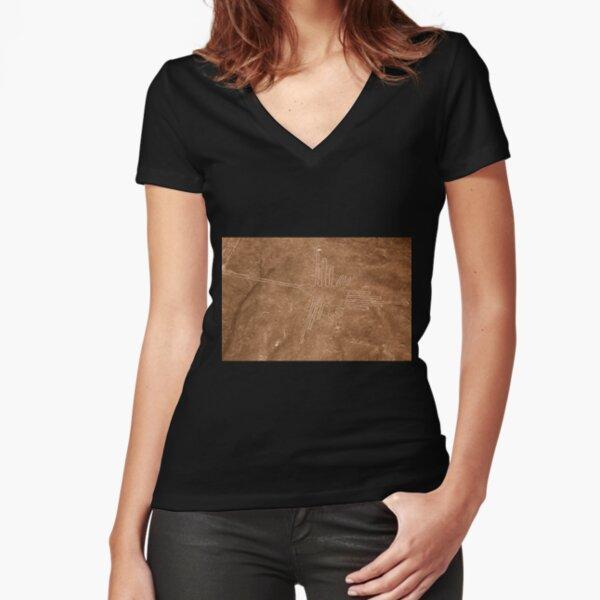Colibri (Hummingbird), Nazca Lines, Peru Fitted V-Neck T-Shirt