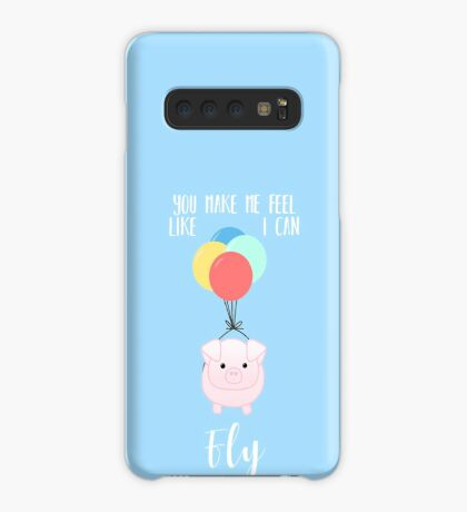 PIG, You make me feel like I can fly - Flying Pig - Pig Puns -Valentines -  Hog Puns - Cute Pig - Pig T Shirt - Fly - Motivation  Case/Skin for Samsung Galaxy