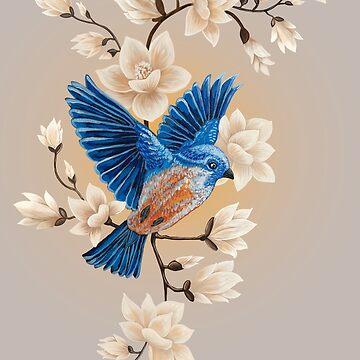 Blue song bird illustration by Ruta