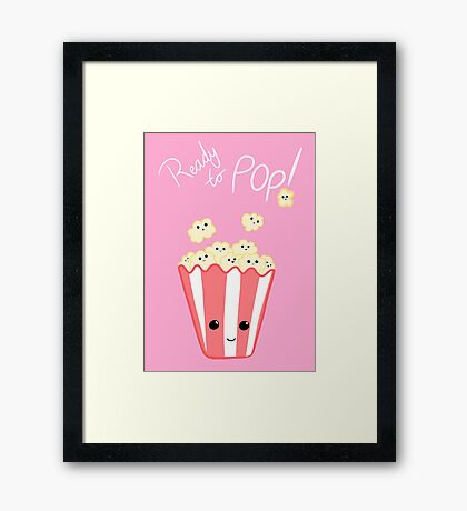 Funny Expecting T Shirt - Ready to Pop - Funny Pregnant - Pregnancy - Baby Shower - Gift - Popcorn Pun - Funny expectant mom mum Framed Print