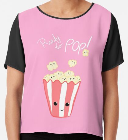 Funny Expecting T Shirt - Ready to Pop - Funny Pregnant - Pregnancy - Baby Shower - Gift - Popcorn Pun - Funny expectant mom mum Chiffon Top