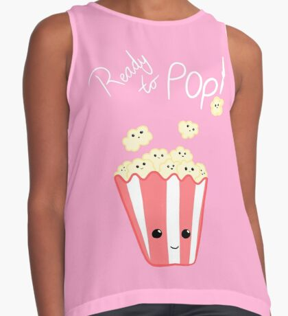 Funny Expecting T Shirt - Ready to Pop - Funny Pregnant - Pregnancy - Baby Shower - Gift - Popcorn Pun - Funny expectant mom mum Sleeveless Top