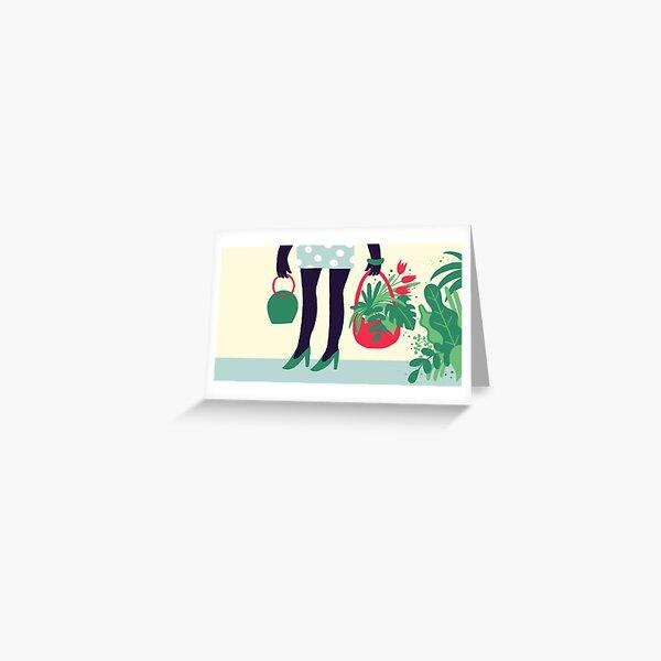 Spring Shopping Plants Greeting Card