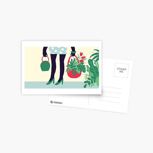 Spring Shopping Plants Postcard