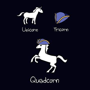Unicorn + Tricorn = Quadcorn (white design) von jezkemp