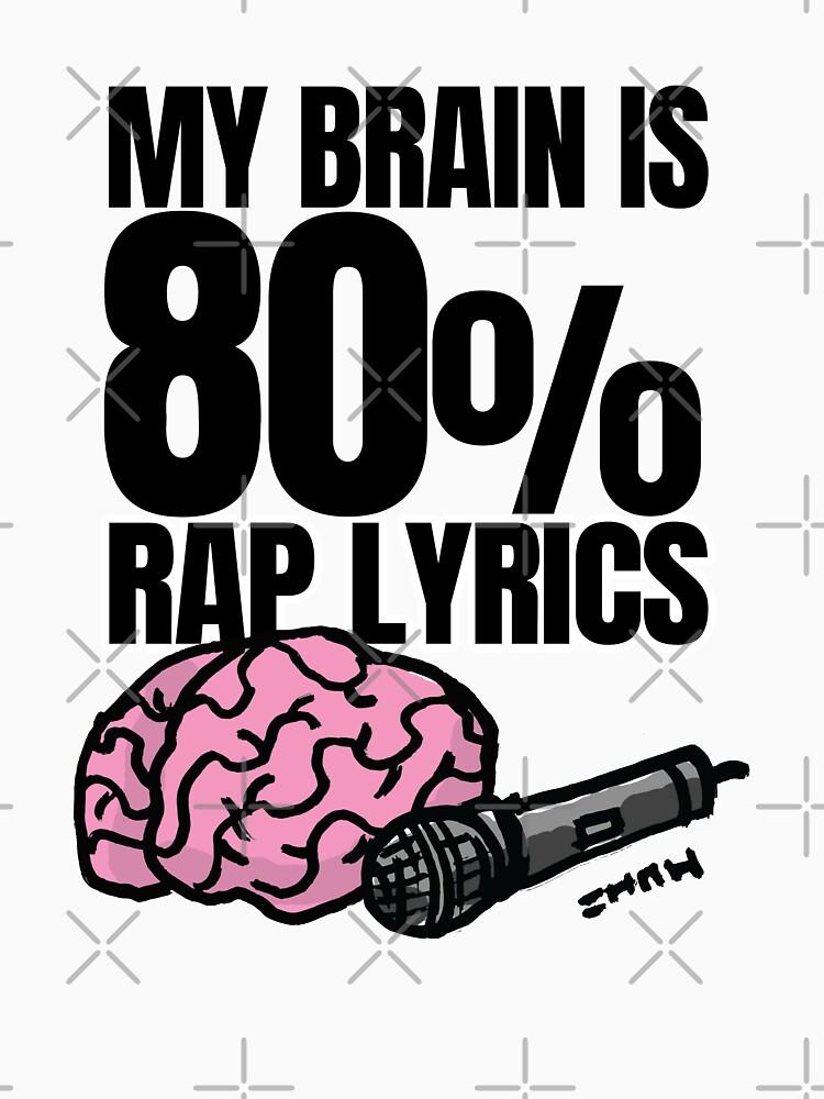 My Brain is 80% Rap Lyrics Funny Rap based quote for the Rap/Hip Hop Fan by sketchNkustom