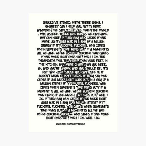 Semi-colon Linkin Park One more light Art Print