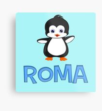 Roma Penguin Sticker Metal Print