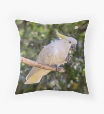 Cockatoo snacking Throw Pillow