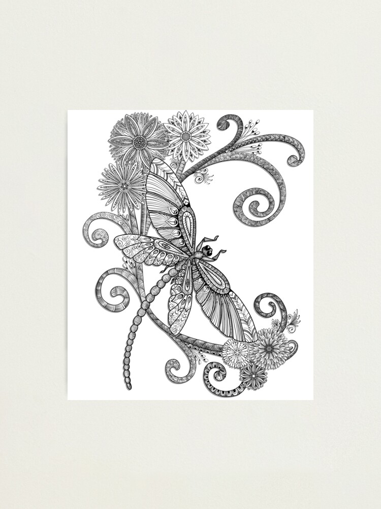 Alternate view of Fly Away - an entangled dragonfly design Photographic Print