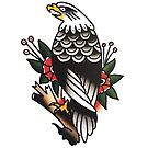 Traditional Eagle on Branch Tattoo Design by FOREVER TRUE TATTOO