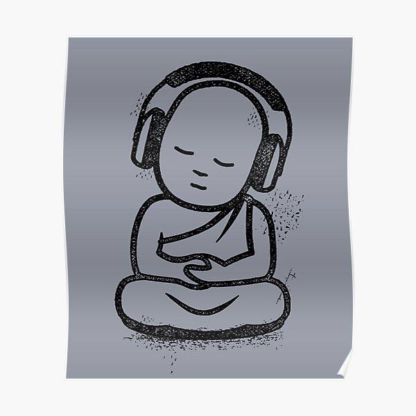 Buddha Headphones - Buddhist Monk DJ Poster