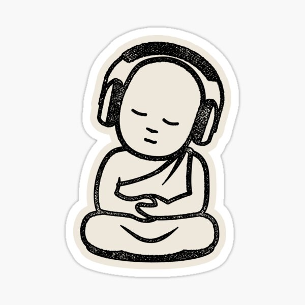 Buddha Headphones - Buddhist Monk DJ Sticker