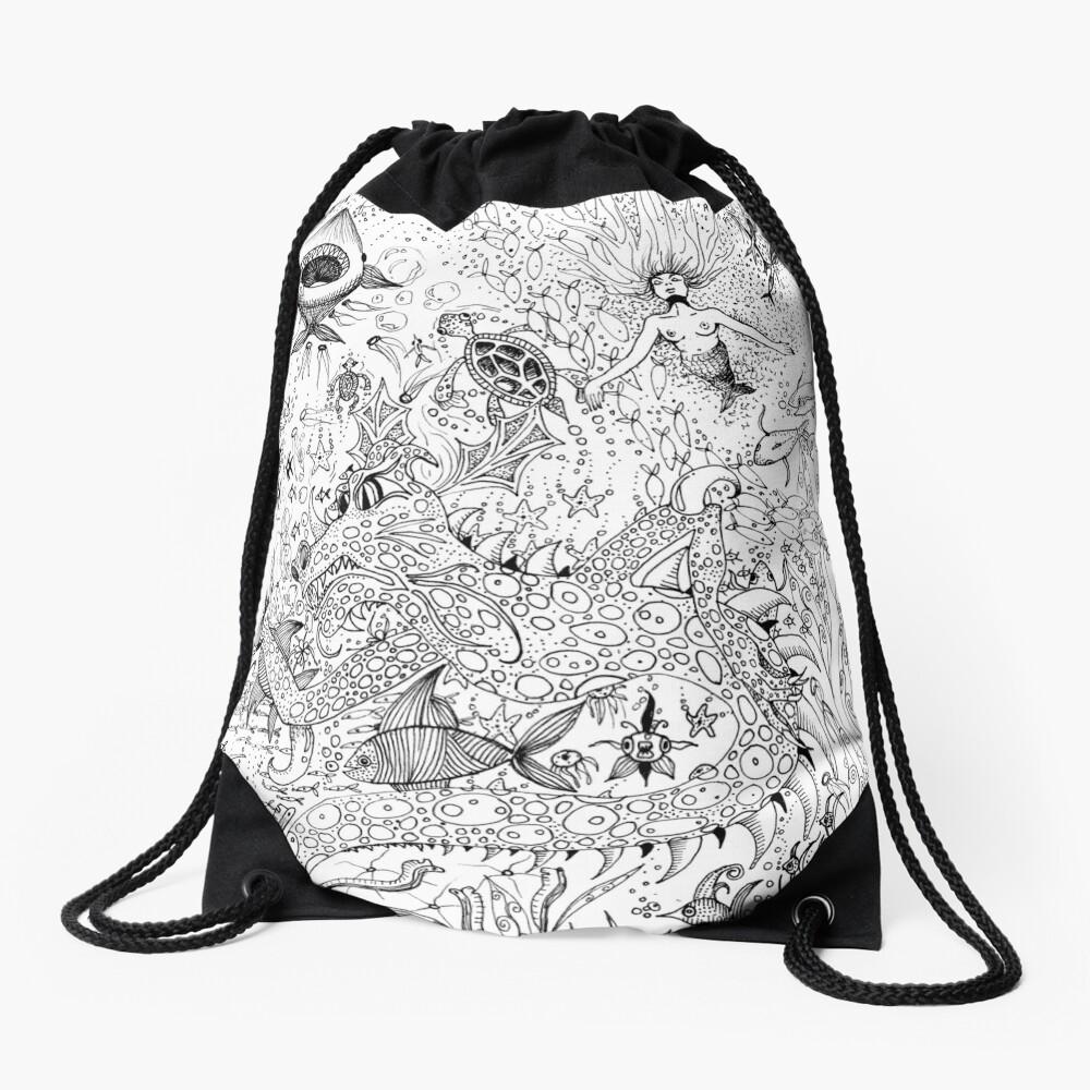 Watery Wonder World Drawstring Bag