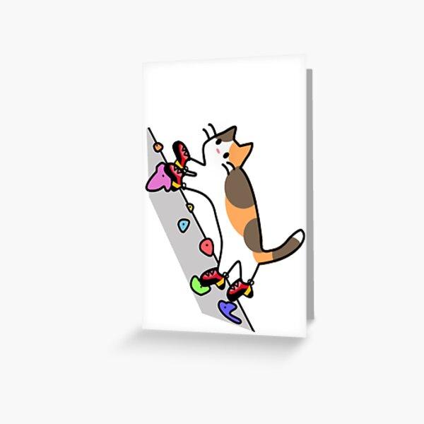 """Así que aquí hay un gato calicó trepando una pared con zapatos de escalada. Vea la versión alternativa con """"pies de gato"""" :) Tarjetas de felicitación"""