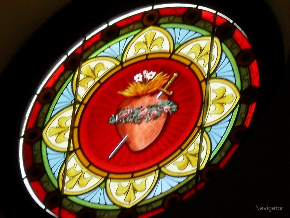 Stained Glass Immaculate Heart of Mary by Navigator