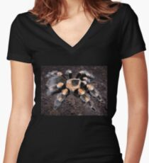 Mexican Red Knee Tarantula Women's Fitted V-Neck T-Shirt