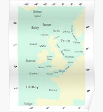Shipping Forecast- Seaside colours Poster