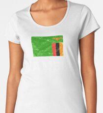 Sambia Flagge Geschenk Premium Rundhals-Shirt
