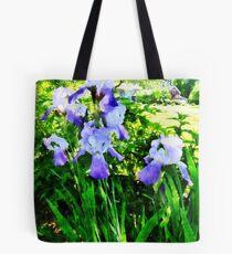 Purple Irises in Suburbs Tote Bag