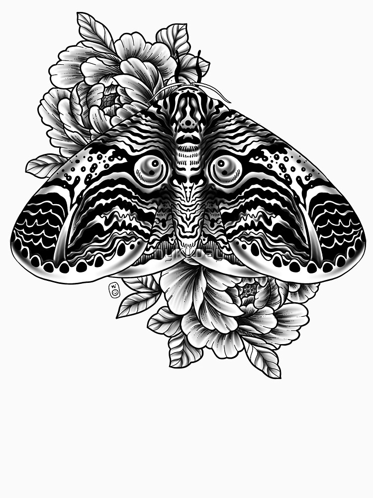 Owl Moth Tattoo Design by nykiway