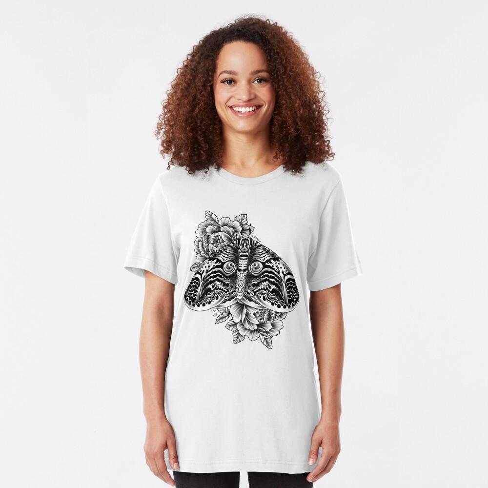 Owl Moth Tattoo Design Slim Fit T-Shirt
