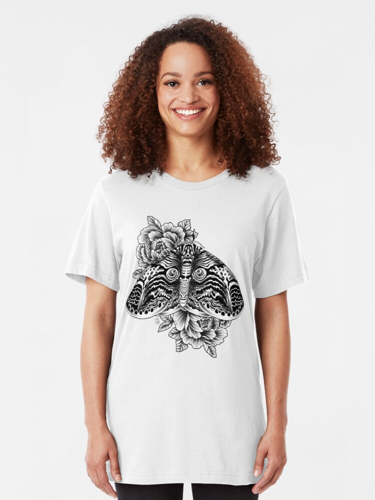 Alternate view of Owl Moth Tattoo Design Slim Fit T-Shirt