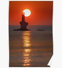 Sunrise at the lighthouse Tourlitis Poster