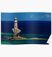 Lighthouse Tourlitis in Andros and a seagull Poster