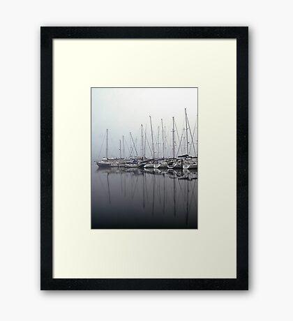 Foggy Yacht Club Framed Print