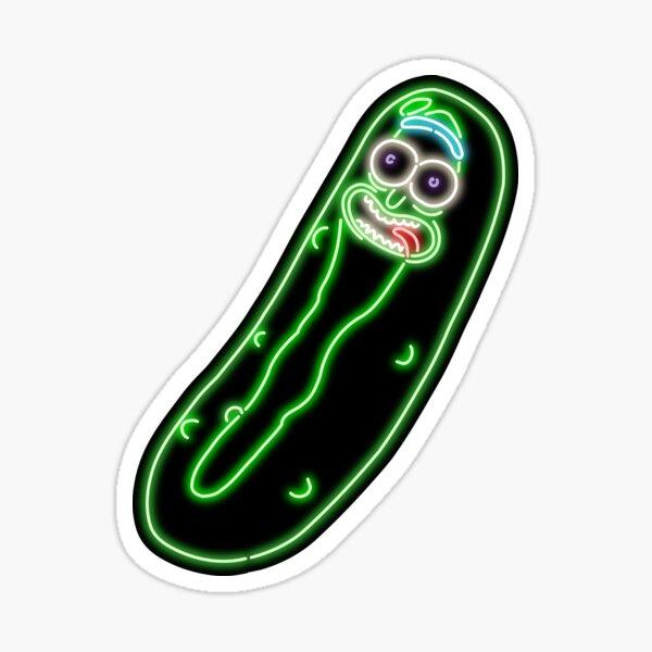 Neon Pickle Rick (Black) Sticker