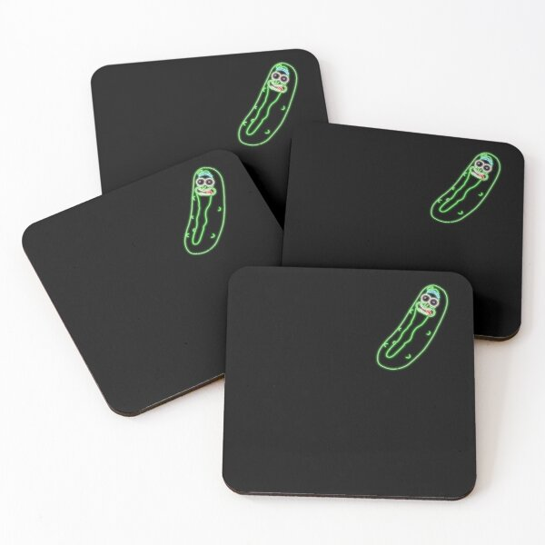 Little Neon Pickle Rick  Coasters (Set of 4)