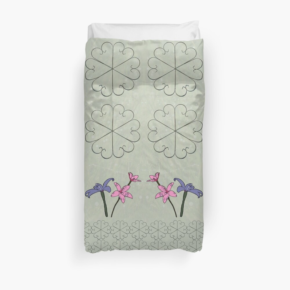 Metal Flower and Orchids Design Fabric Duvet Cover