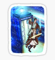 Sherlock and John - Jedi in the Tardis Sticker