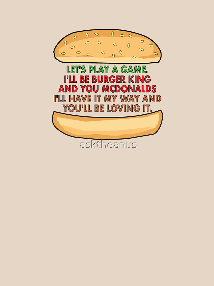 The Burger Corporate Tag Line Game by asktheanus