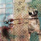 Psychoticat. Whimsical cat art. fine art illustration - bird murderer. Dark fantasy wall art. Secret life of pets by Robert Johnson