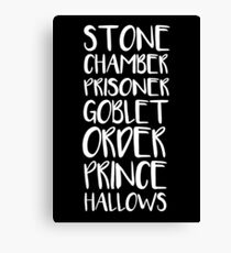 STONE/CHAMBER/PRISONER/GOBLET/ORDER/PRINCE/HALLOWS Canvas Print