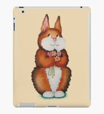 cute brown Bunny smiling and colourful flowers art  iPad Case/Skin