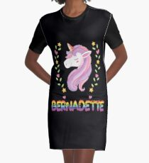 Bernadette Unicorn Rainbow Heart Text - Special Personalised Gift For Bernadette Graphic T-Shirt Dress