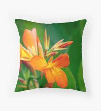 Orange on Green Flame Throw Pillow