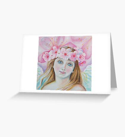 Cherry Blossom Angel  Greeting Card
