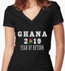 Ghana 2019 Year Of Return Ghana Flag (white) Women's Fitted V-Neck T-Shirt