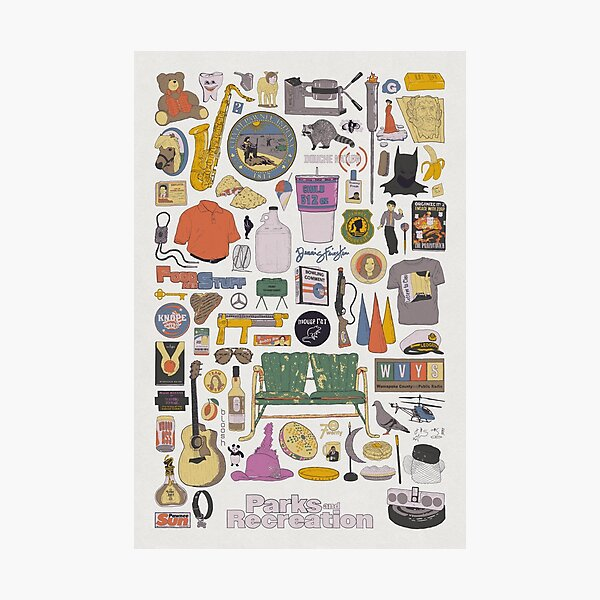 Pawnee Life - Parks and Rec Item Collage  Photographic Print