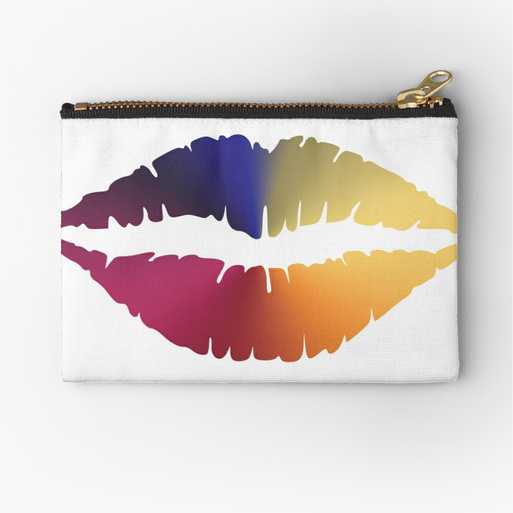 Lips Angle Gradient (Clear/White) Zipper Pouch