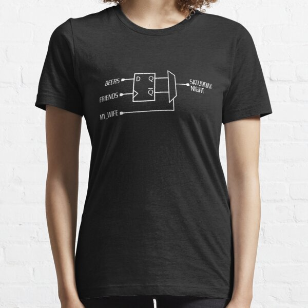 Sequential design with beers and friends as inputs. Funny logical circuit! Essential T-Shirt