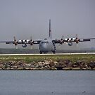 C-130 Hercules rolling to a stop by Henry Plumley
