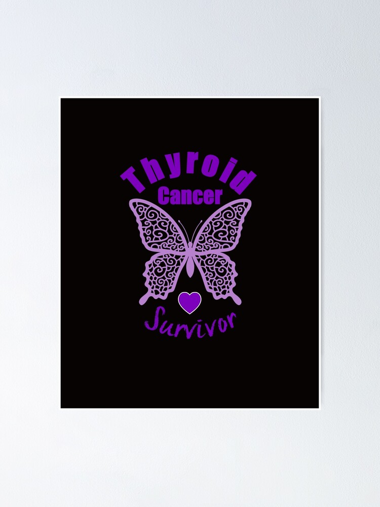 Thyroid Cancer Survivor Lace Butterfly Poster By Wordsonly Redbubble