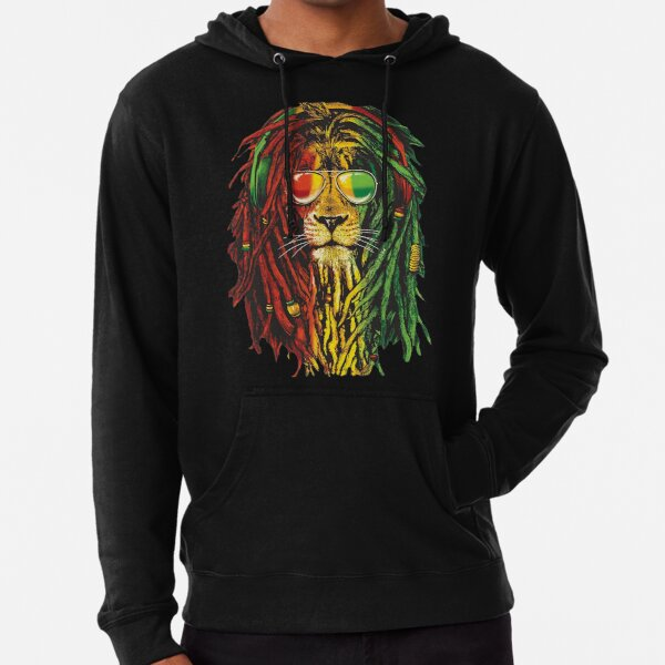 Marley Rasta Lion Art Dreadlock Rastafari Camiseta y accesorios para Rasta Lover Sudadera ligera con capucha