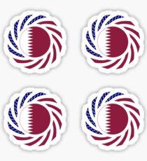Qatari American Multinational Patriot Flag Series Sticker